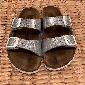 Girls Birkenstock sandals glitter silver